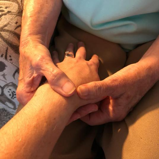 mom holding my hand